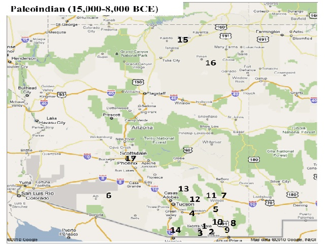 Map of the distribution of sites containing extinct bison in Arizona. Map by S. Wolff