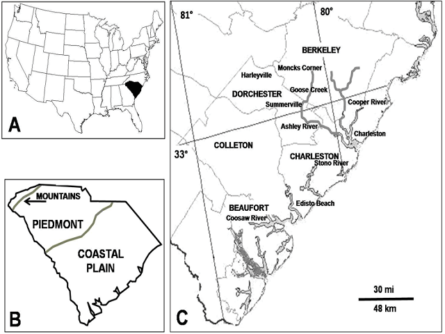 South Carolina and ground sloth fossil localities: A) Map of United States showing location of South Carolina; B) Map of South Carolina showing physiographic provinces; C) Localities on the Coastal Plain of South Carolina where ground sloth fossils have been collected. Map by S. Fields
